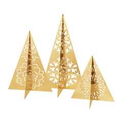 Seasonal 3 Pcs Tree Ice Flower Set, Gold