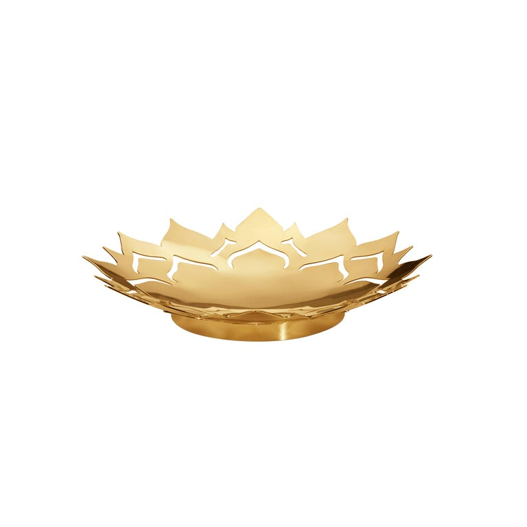 Seasonal Ice Flower Bowl, Small Gold For Sale