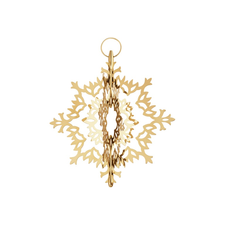 Seasonal Tree Topper, Ice Flower 2020; 18 kt gold plated stainless steel