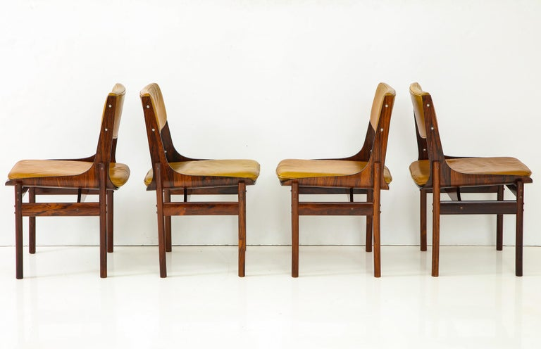 Brazilian Seat of Four Jacaranda and Leather Chairs from Brazil For Sale