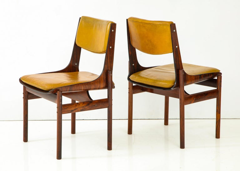 Seat of Four Jacaranda and Leather Chairs from Brazil In Good Condition For Sale In New York, NY