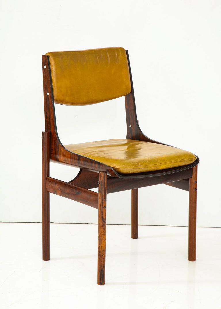 Mid-20th Century Seat of Four Jacaranda and Leather Chairs from Brazil For Sale