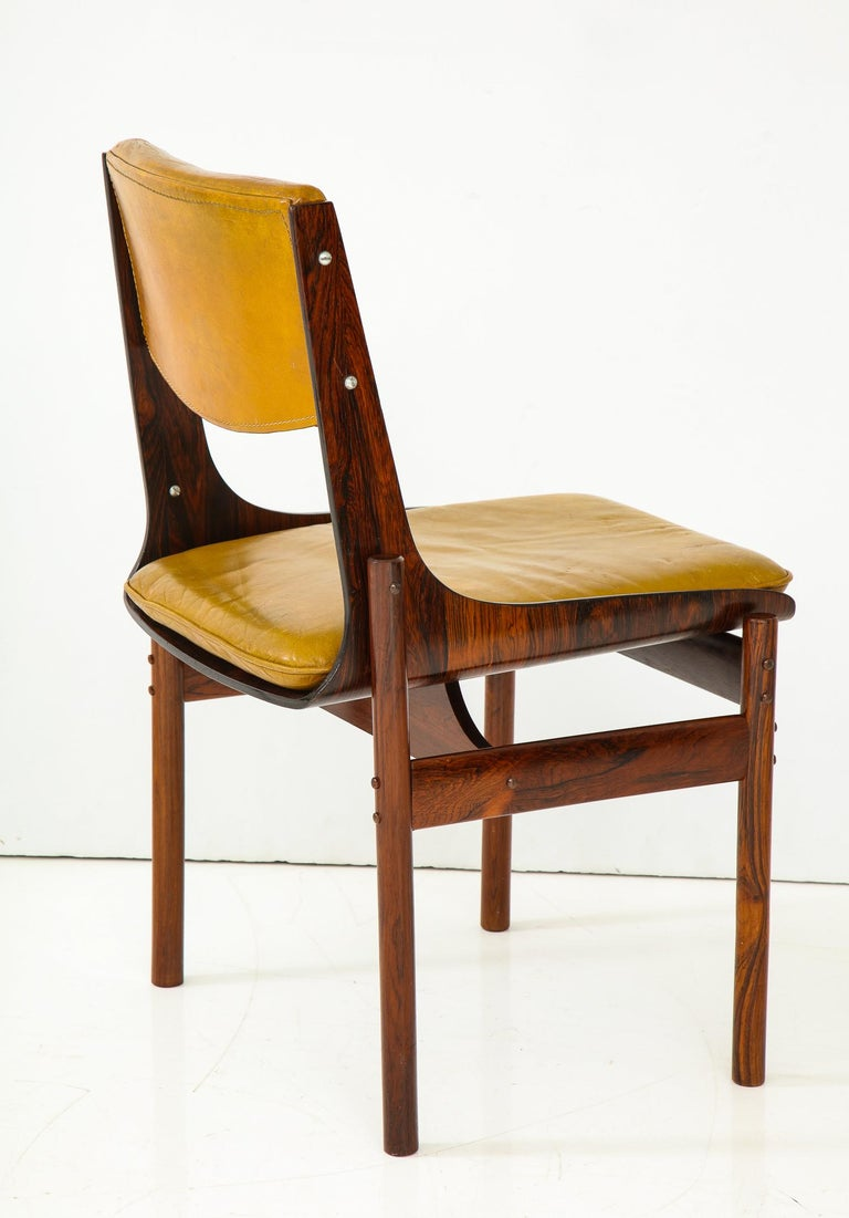 Seat of Four Jacaranda and Leather Chairs from Brazil For Sale 1
