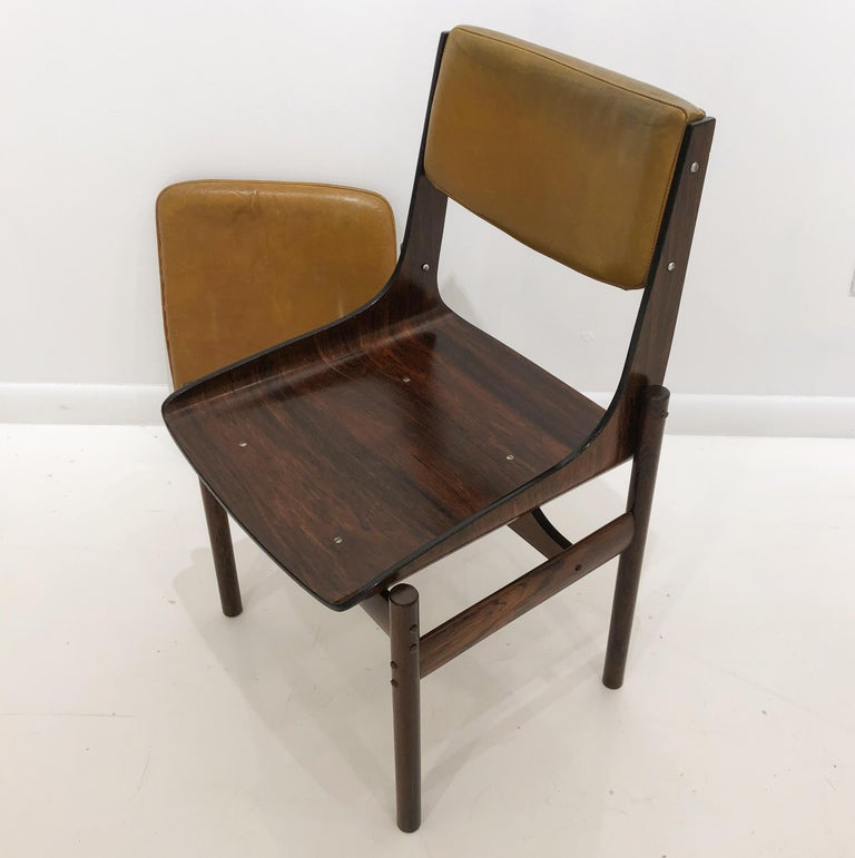 Seat of Four Jacaranda and Leather Chairs from Brazil For Sale 3