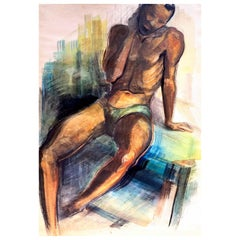 """Seated Black Male Figure,"" Art Deco Watercolor Painting, Brown County, Indiana"