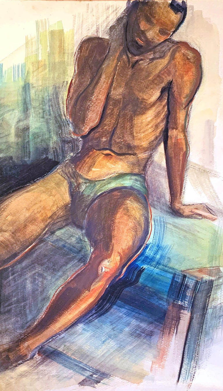 This painting of a Black male nude, executed in rich, brilliant shades of burnt sienna, reddish brown, blue and green, was painted by a Brown County, Indiana artist, though it is not signed. There are hints of WPA/Art Deco stylization in some of the