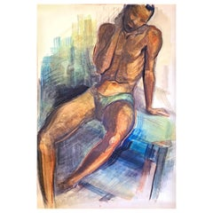 """Seated Black Male Nude,"" Art Deco Watercolor by Brown County Painter"