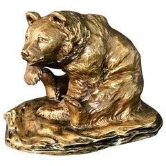 Seated Bronze Bear Signed M.H. Wiechmann