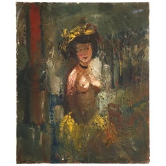 Seated Exotic Nude by Fernand Labat, Oil on Canvas Impressionist Painting