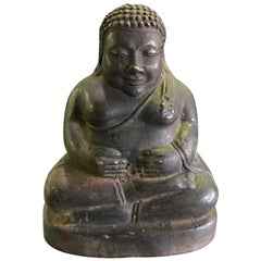 Seated Laughing Jolly Bronze Buddha Sculpture, 19th Century