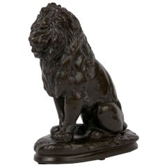 """Seated Lion"" Antique French Bronze Sculpture Cast after Antoine-Louis Barye"