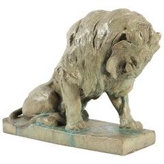 Seated Lion Sculpture, Enameled Sandstone, by P. Jouve, France