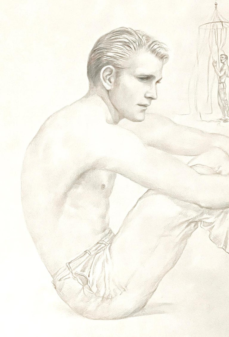 Finely and beautifully captured, this depiction of a shirtless young man, handsome and pensive, sitting on the beach with his legs grasped in his arms, is a rare, early drawing by John B. Lear. Over his long career, Lear liked to depict nude or