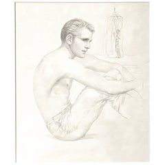 """""""Seated Male Figure, Beachside,"""" Early Drawing by John B. Lear with Cabana"""