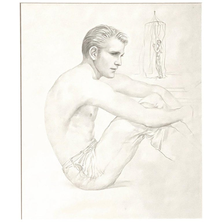 """""""Seated Male Figure, Beachside,"""" Early Drawing by John B. Lear with Cabana For Sale"""