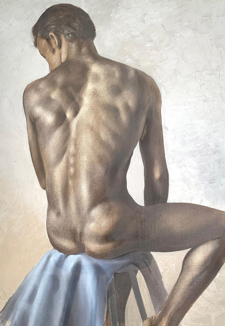 Subdued in palette but gorgeous in subtle detail, this painting of a seated male nude from behind captures the sensuality and beauty of the human figure. The painter, Roberto Lupetti, used fine brushwork for the figure, and an impasto technique for