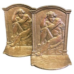 """""""Seated Male Nudes,"""" Pair of Bookends with Figures in Michelangelo-Esque Poses"""