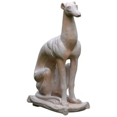 Seated Terracotta Whippet
