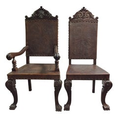 Seath Set of 2/4 Portuguese Baroque Style Leather Chairs