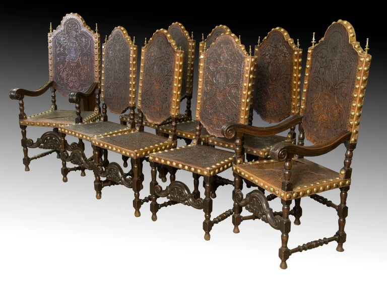 Seats in Walnut and Embossed Leather, 19th Century For Sale 2