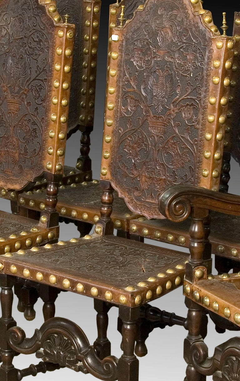 Seats in Walnut and Embossed Leather, 19th Century For Sale 3