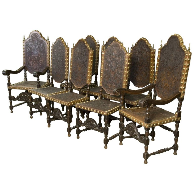 Seats in Walnut and Embossed Leather, 19th Century For Sale