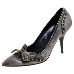 Sebastian Grey Leather Tassel Detail Pointed Toe Pumps Size 40
