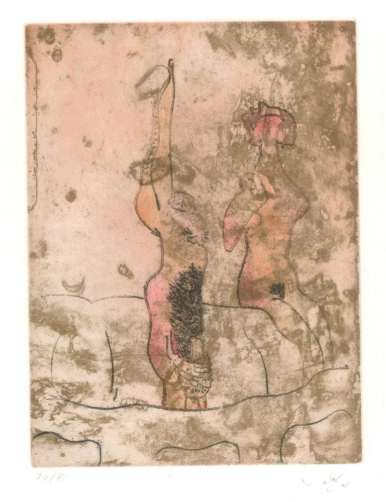 Sebastian Matta Abstract Print - Untitled Plate 10 from Paroles Peintes Suite - 1970s - Sebastián Matta