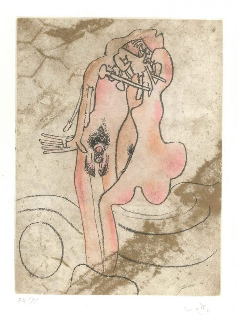 Sebastian Matta Abstract Print - Untitled Plate 5 from Paroles Peintes Suite - 1970s - Sebastián Matta