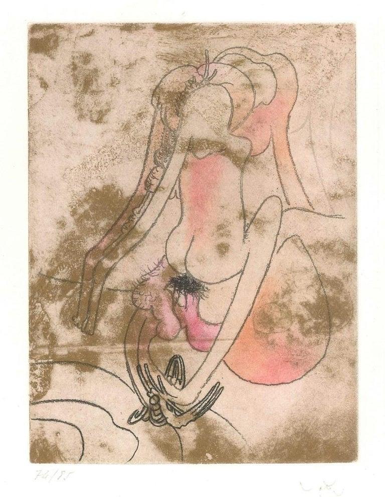 Sebastian Matta Abstract Print - Untitled Plate 7 from Paroles Peintes Suite - 1970s - Sebastián Matta