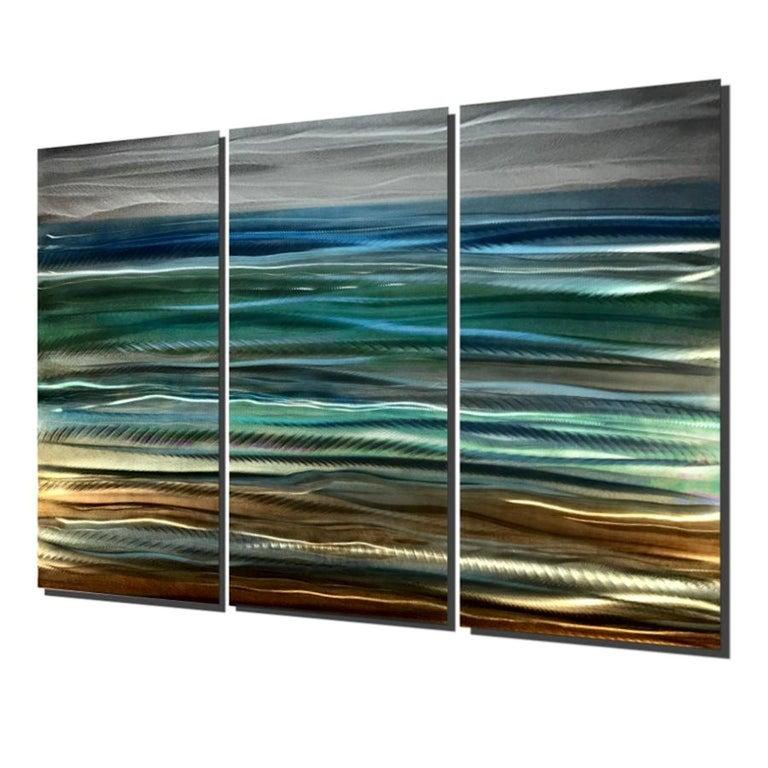 Abstract Beach Ocean Metal Art Modern Original Hand-Painted by Sebastian Reiter For Sale 2