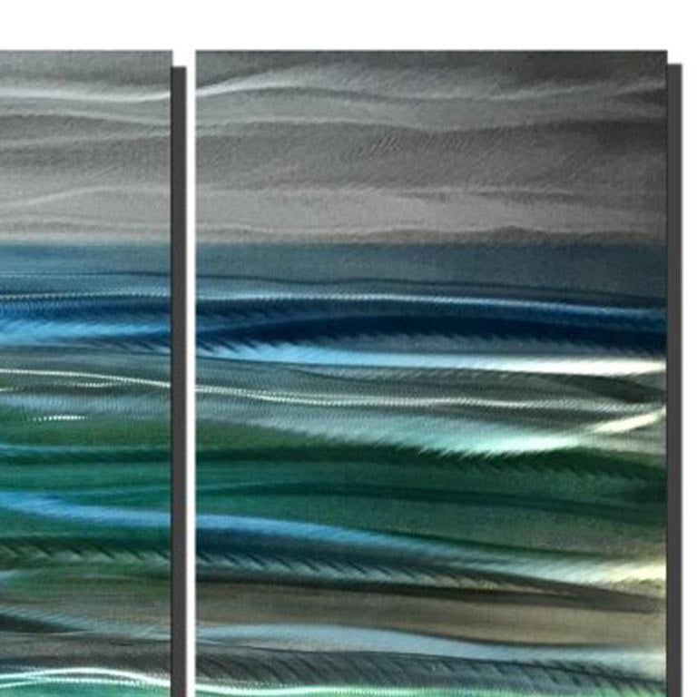 Abstract Beach Ocean Metal Art Modern Original Hand-Painted by Sebastian Reiter For Sale 3