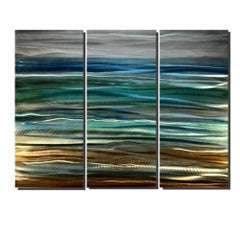Abstract Beach Ocean Metal Art Modern Original Hand-Painted by Sebastian Reiter