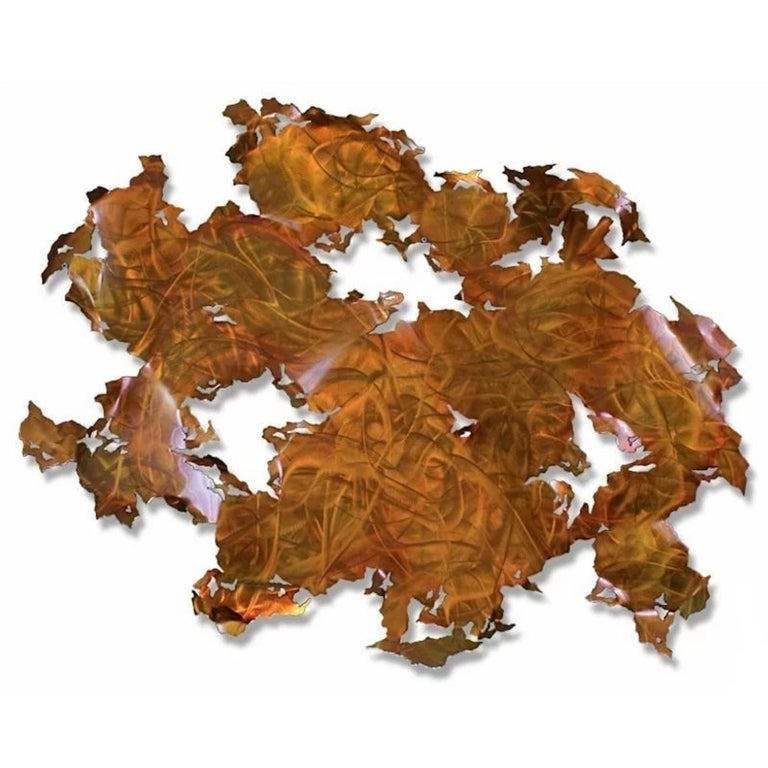 With warm tones of orange and red, this beautiful hand-ground aluminum wall sculpture will be a stunning addition to any modern, contemporary, traditional, or transitional home. The durable substrate and automotive clear coat finish make this piece