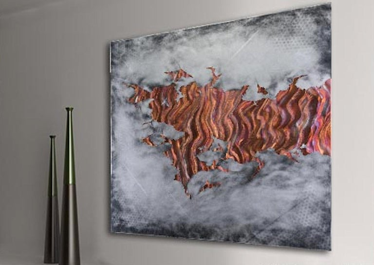 Copper Metal Wall Art Sculpture Silver Gray Aluminum Modern Contemporary Decor For Sale 1