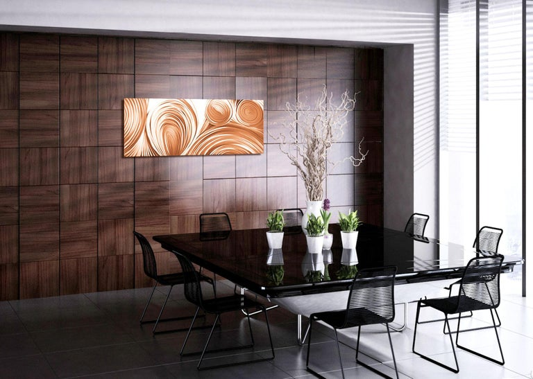 "A perfect addition to the contemporary home, ""Conduction Copper was expertly crafted to express the pure passion of the artist, and is now offered in pure, natural copper."" Through the masterful use of multiple grinding, sanding, and polishing"