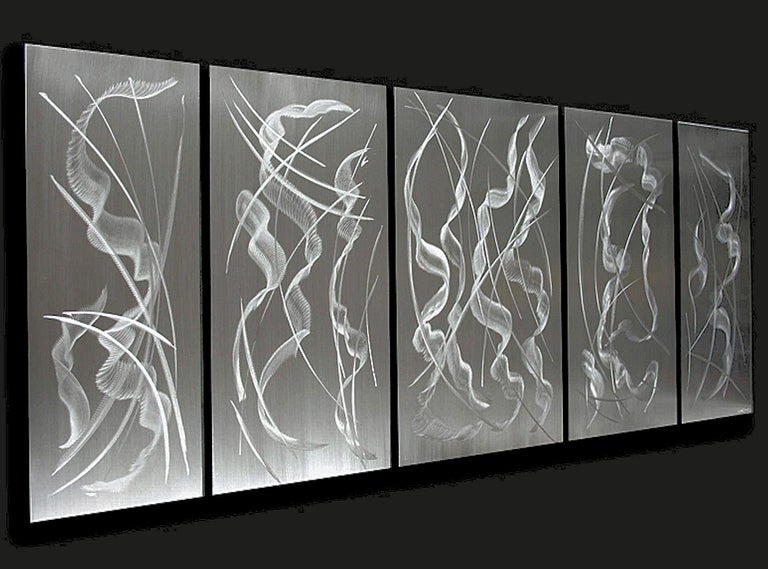 "Title: Frozen In Time  Artist: Sebastian R. Medium: Hand-Ground, Raw Metal Finish 5-panels hang individually.  Overall dimensions 24""x 60""x 1"".  ""Frozen in Time"" is an inspiring and modern artwork designed to impress. Its large multi-panel structure"