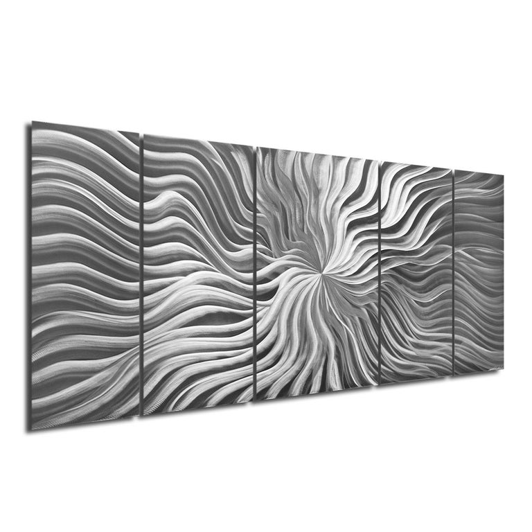 """Title: Flexure Artist: Sebastian R. Medium: Hand-Ground, Raw Metal Finish 5-panels hang individually.  Overall dimensions: 24""""x 60""""x 1"""".  """"Flexure"""" is a funky and cool design with its flowery pattern spreading across multiple panels. It's a metallic"""