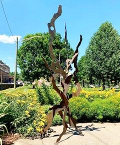 Contemporary Modern Outdoor Industrial Metal Lawn Garden Sculpture Rustic Patina