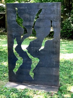Industrial Outdoor Sculpture Rustic Patina Metal Yard Garden Contemporary Art