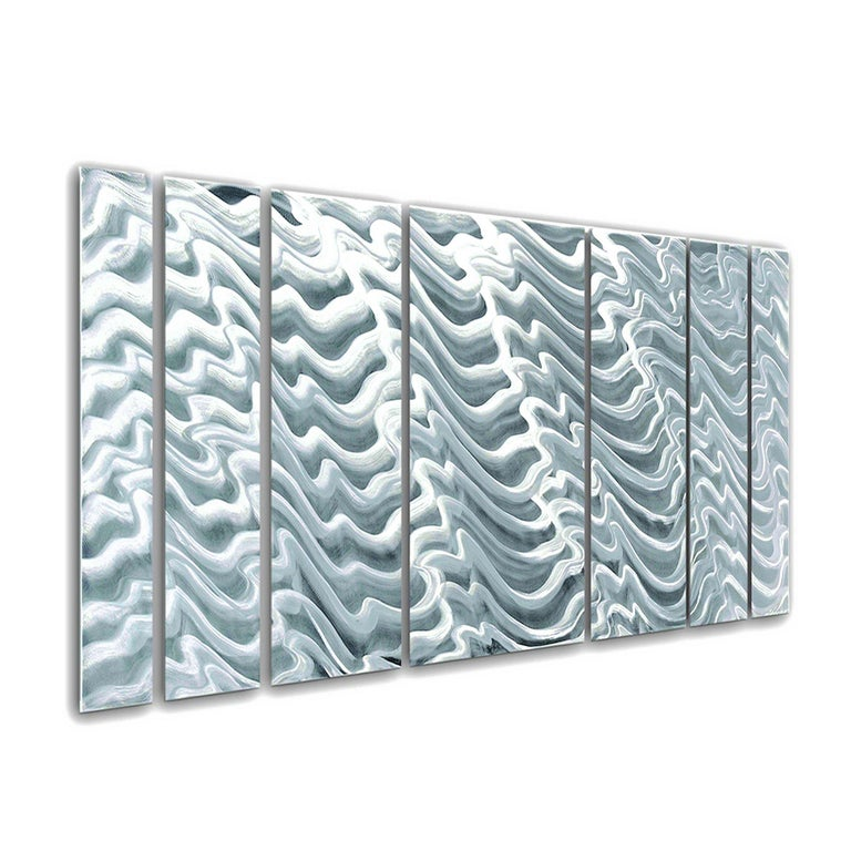"""Title: Polar Encapsulation Artist: Sebastian R. Medium: Hand-Ground, Raw Metal Finish Details: Panels hang individually. Overall dimensions (when hung as shown with 1/2"""" spacing) 24""""x 60""""x 1"""". Ready to hang.  """"Polar Encapsulation"""" is a multi-panel"""
