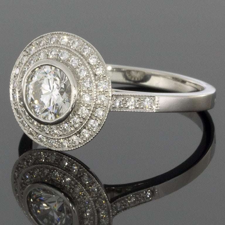 Item Details: Estimated Retail - $7,150.00+ (See appraisal pic) Brand - Sebastien Barier Collection - Art Deco Metal - Platinum Total Carat Weight (TCW) - 1.13 ctw Style - Deco Double Halo Engagement Ring Ring Size - 6.75 Sizable - Yes Width - 2.00