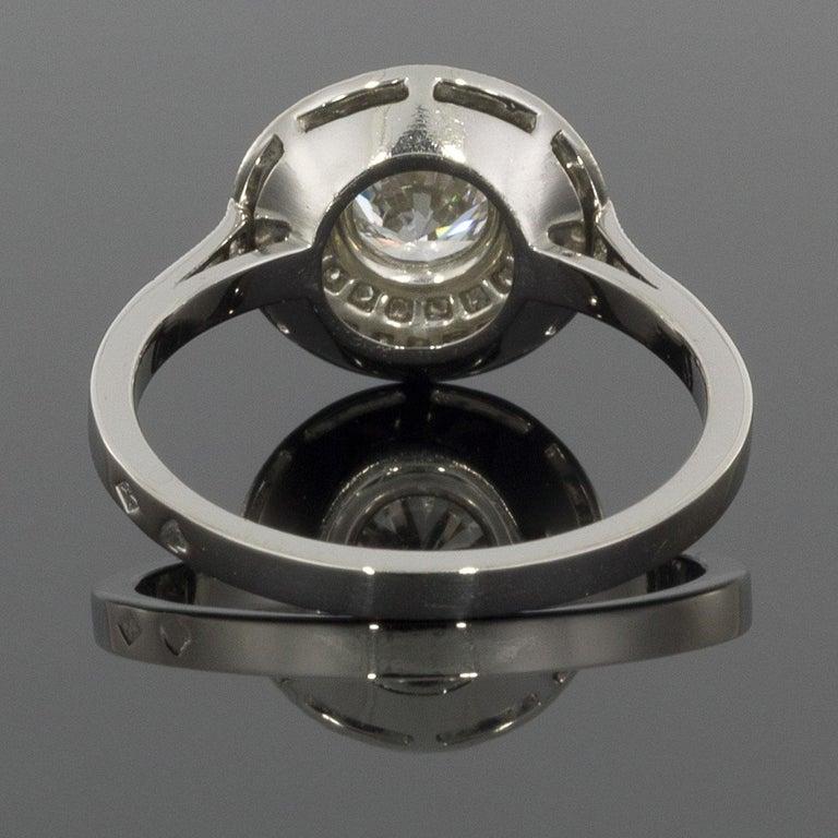 Round Cut Sebastien Barier  Deco Style Platinum Round Diamond Double Halo Engagement Ring For Sale