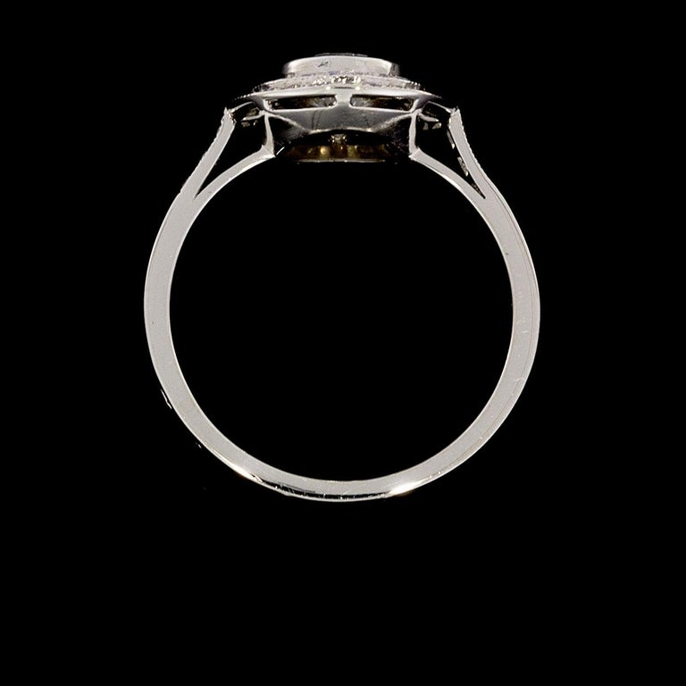 Sebastien Barier  Deco Style Platinum Round Diamond Double Halo Engagement Ring In Excellent Condition For Sale In Columbia, MO
