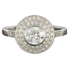 Sebastien Barier  Deco Style Platinum Round Diamond Double Halo Engagement Ring