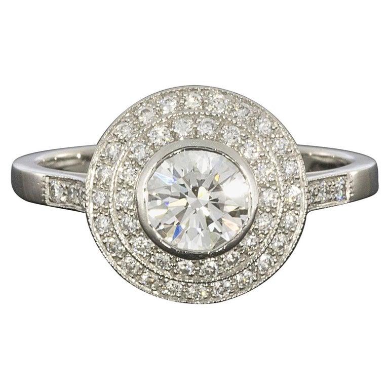 Sebastien Barier  Deco Style Platinum Round Diamond Double Halo Engagement Ring For Sale