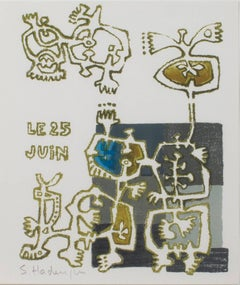 """""""Personnages with Bird,"""" Original Lithograph signed by Sebastien Hadengue"""