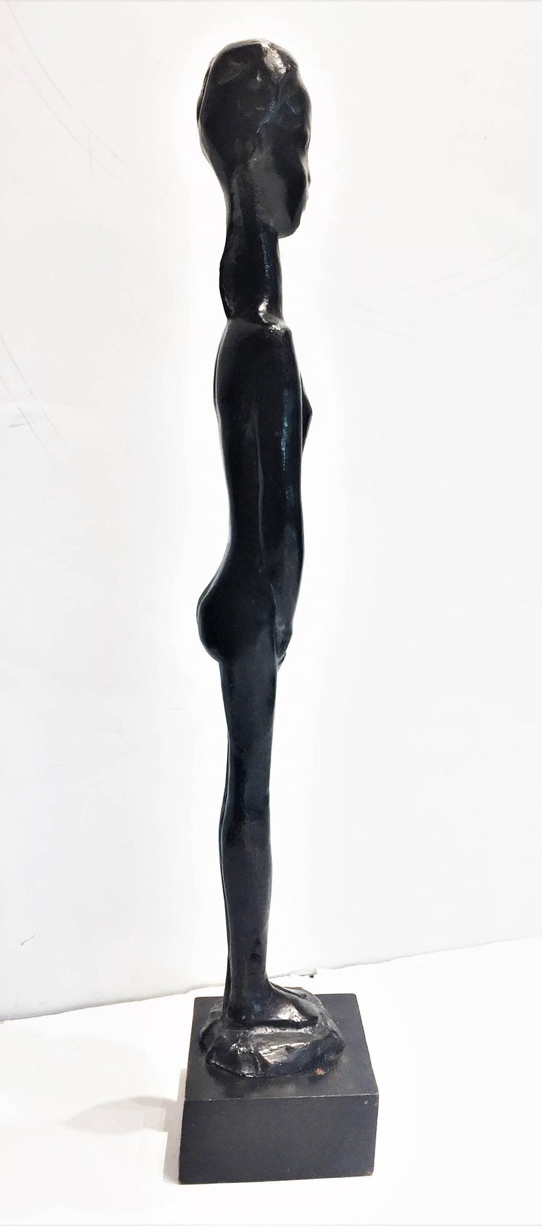 Sébastien Tamari, Femme Nu, French Modernist Patinated Bronze Sculpture, 1960s In Good Condition For Sale In New York, NY