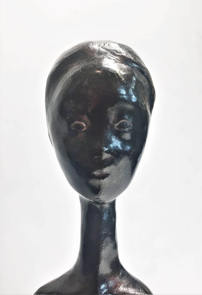 Mid-20th Century Sébastien Tamari, Femme Nu, French Modernist Patinated Bronze Sculpture, 1960s For Sale