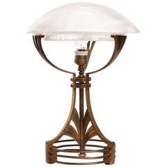 Secession Art Nouveau, Brass, Glass, Desk Table Lamp, circa 1900